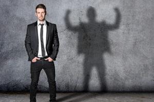 confident man shadow